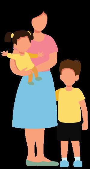 Mutter und Kinder Grafik