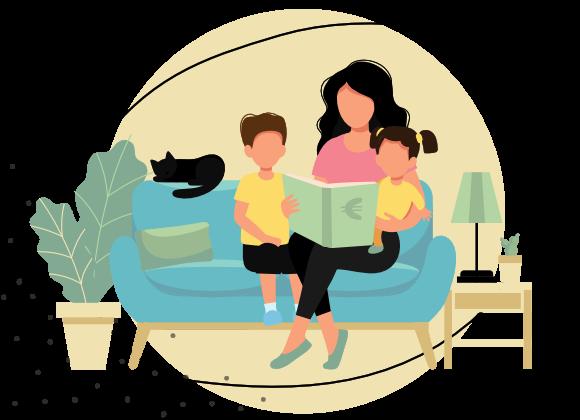 Mutter und Kinder lernen über Geld Grafik